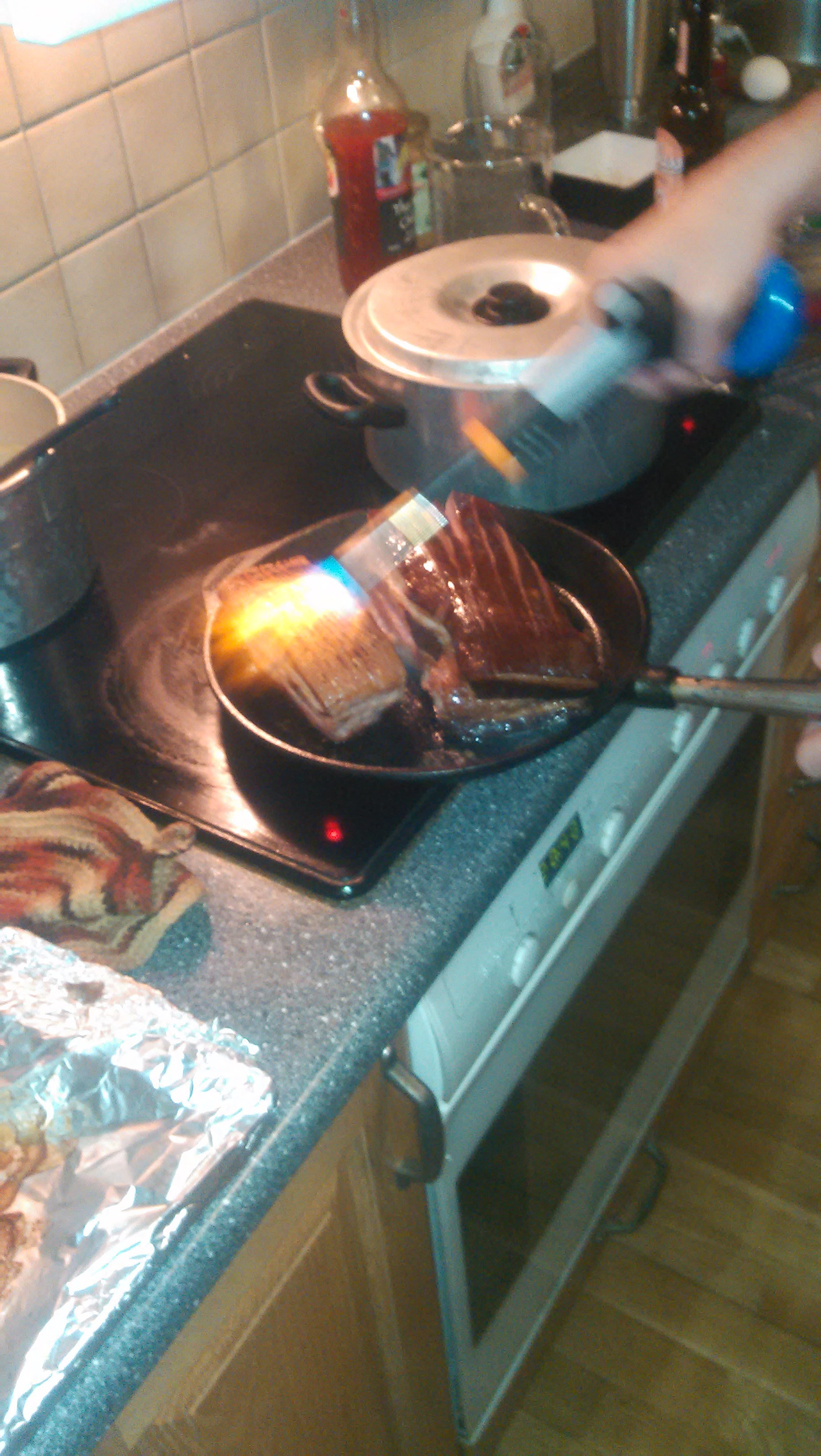 Crisping the bacon sous-vide