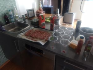 Making bacon Bloody Mary