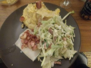 Sousvide cod with bacon, bacon and cheddar cheese mashed potatos and bacon coleslaw