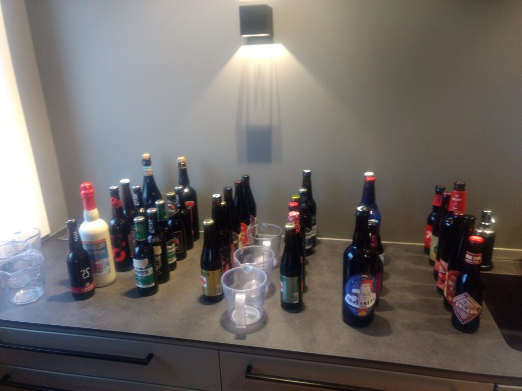 All the beers lined up